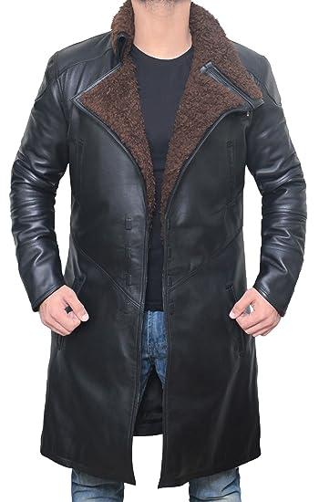 Blingsoul Brown Leather Jacket Mens Winter Shearling Bomber Fur