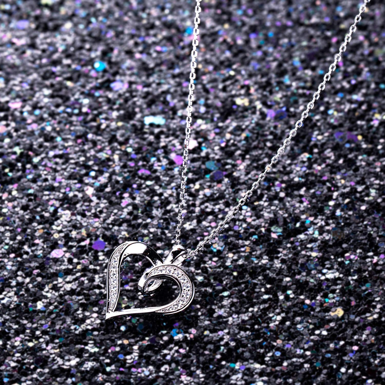 Billie Bijoux 925 Sterling Silver Infinity Love Heart Necklace Platinum Plated Round CZ Diamond Fine Woman's jewelry 18'' by Billie Bijoux (Image #5)