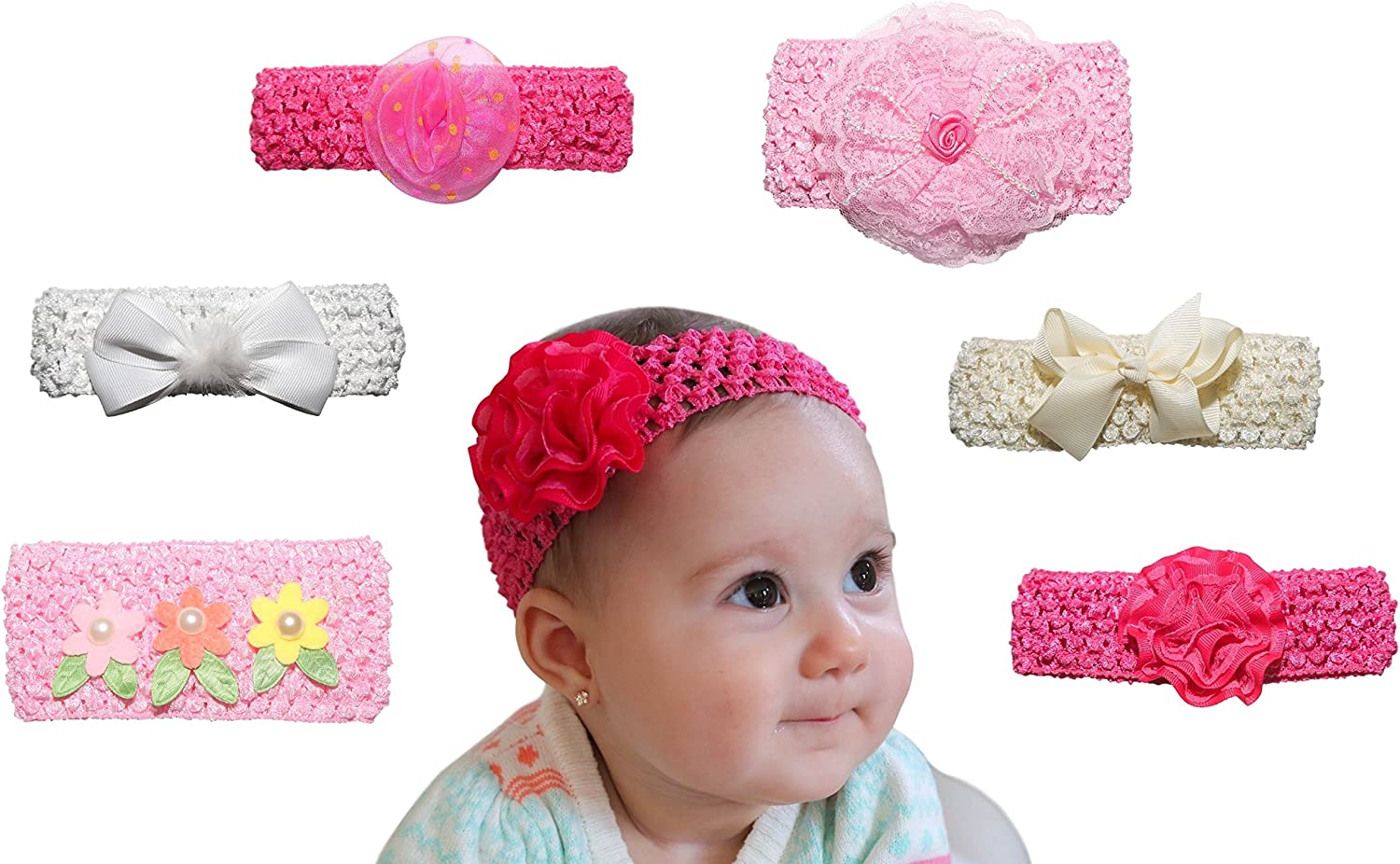 6 Pack Baby Headband – New Baby Girl Shower Gifts - Photo Props for Babies – Perfect for Newborn Photography, 1 Year Olds and Twins, First Birthday: Amazon.co.uk: Baby