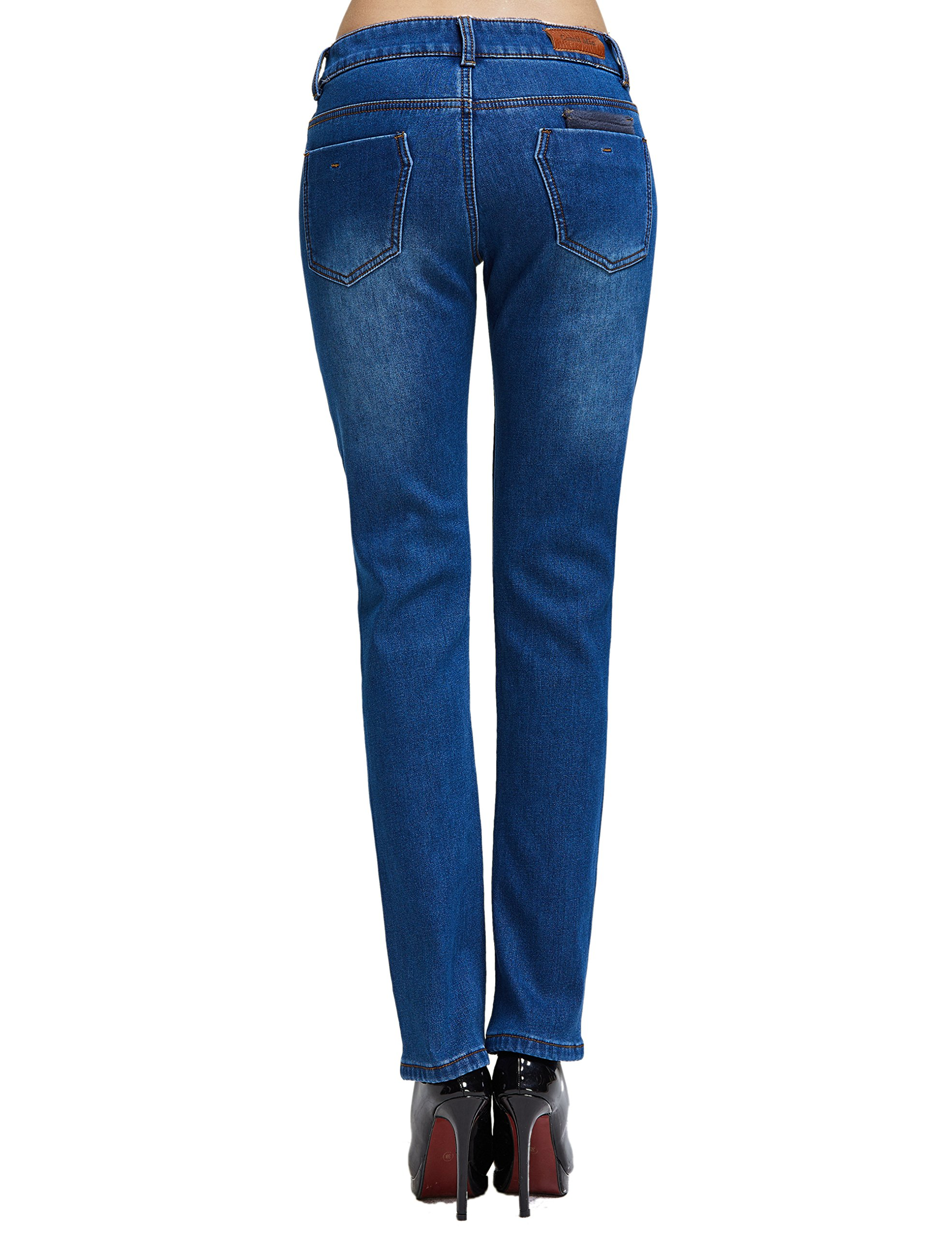 Camii Mia Women's Winter Slim Fit Thermal Jeans Pants (W28 x L30, Blue (New Size)) by Camii Mia (Image #2)