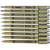 Sakura Pigma Micron 10 Fineliner pens Black Archival Ink Artist Drawing Sketch pens (003, 005, 01, 02, 03, 04, 05, 08), Graphic 1 & Brush Pen Set