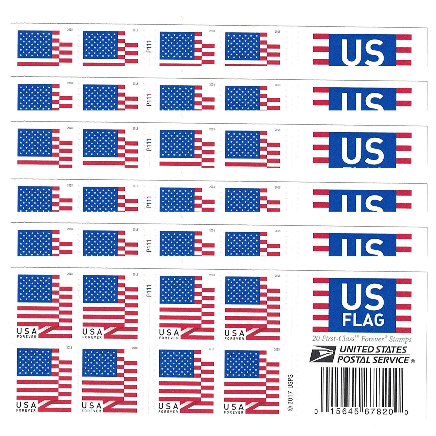 USPS US Flag 2018 Forever Stamps (Book of 120)