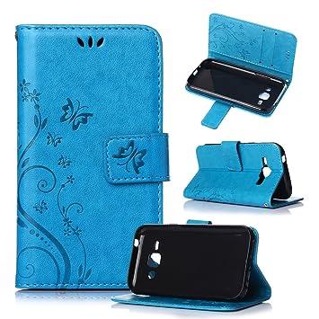 Beiuns Funda de PU Piel para Samsung Galaxy J1 (4,3 Pulgadas) Carcasa - R149 Azul Hermoso