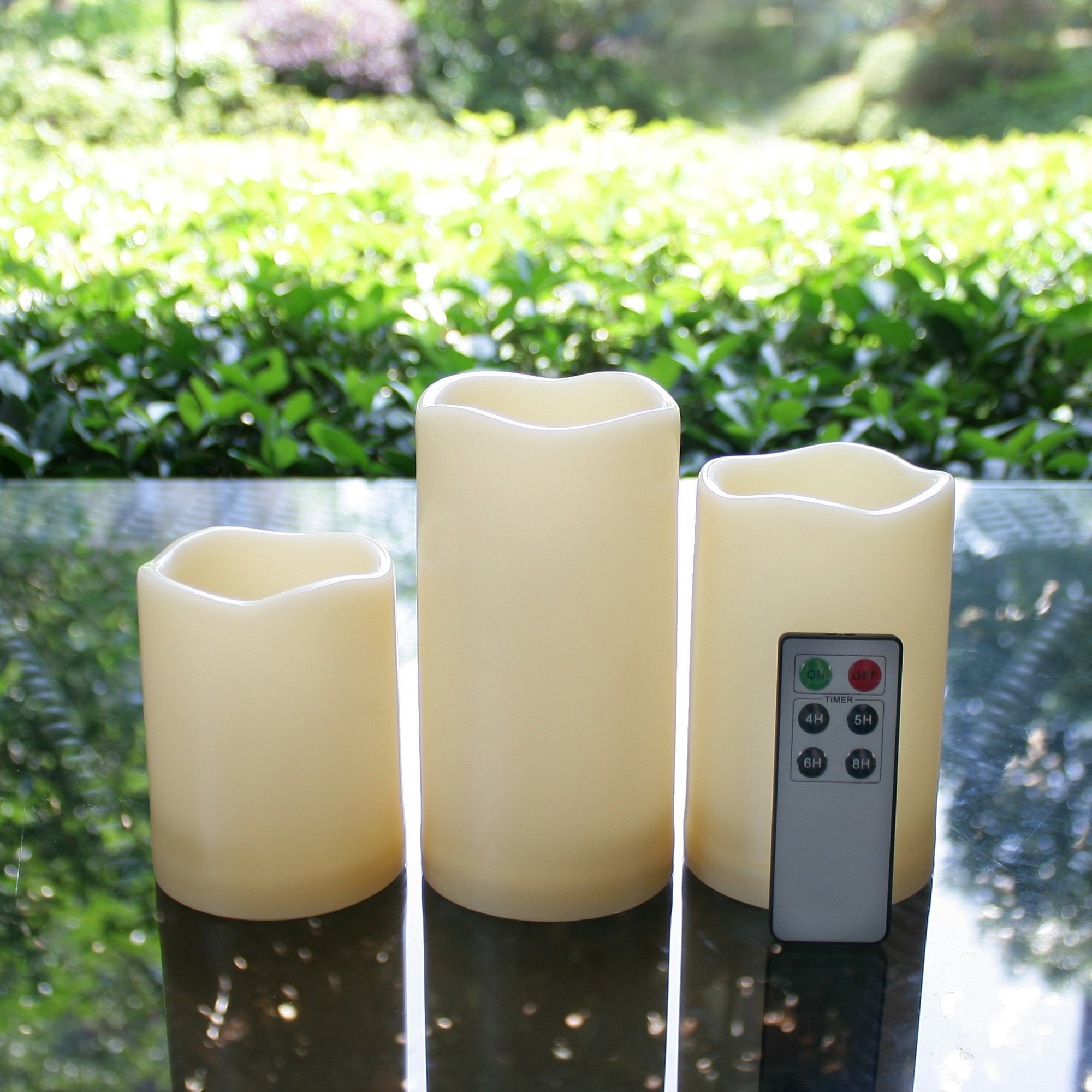 """Outdoor Flameless LED Candles with Remote and Timer - Long Lasting Waterproof Realistic Flickering Battery-operated Powered Electric Electronic Plastic Resin Pillar Candle Set 3""""(D)x4"""" 5"""" 6""""(H) 3-Pack"""
