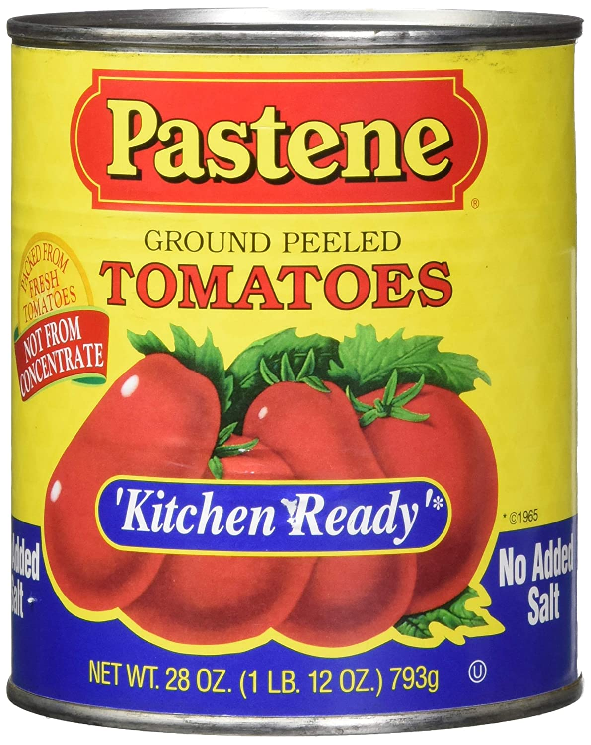 Pastene Kitchen Ready No Salt Ground Peeled Tomatoes, 28 Ounce (Pack Of 6)