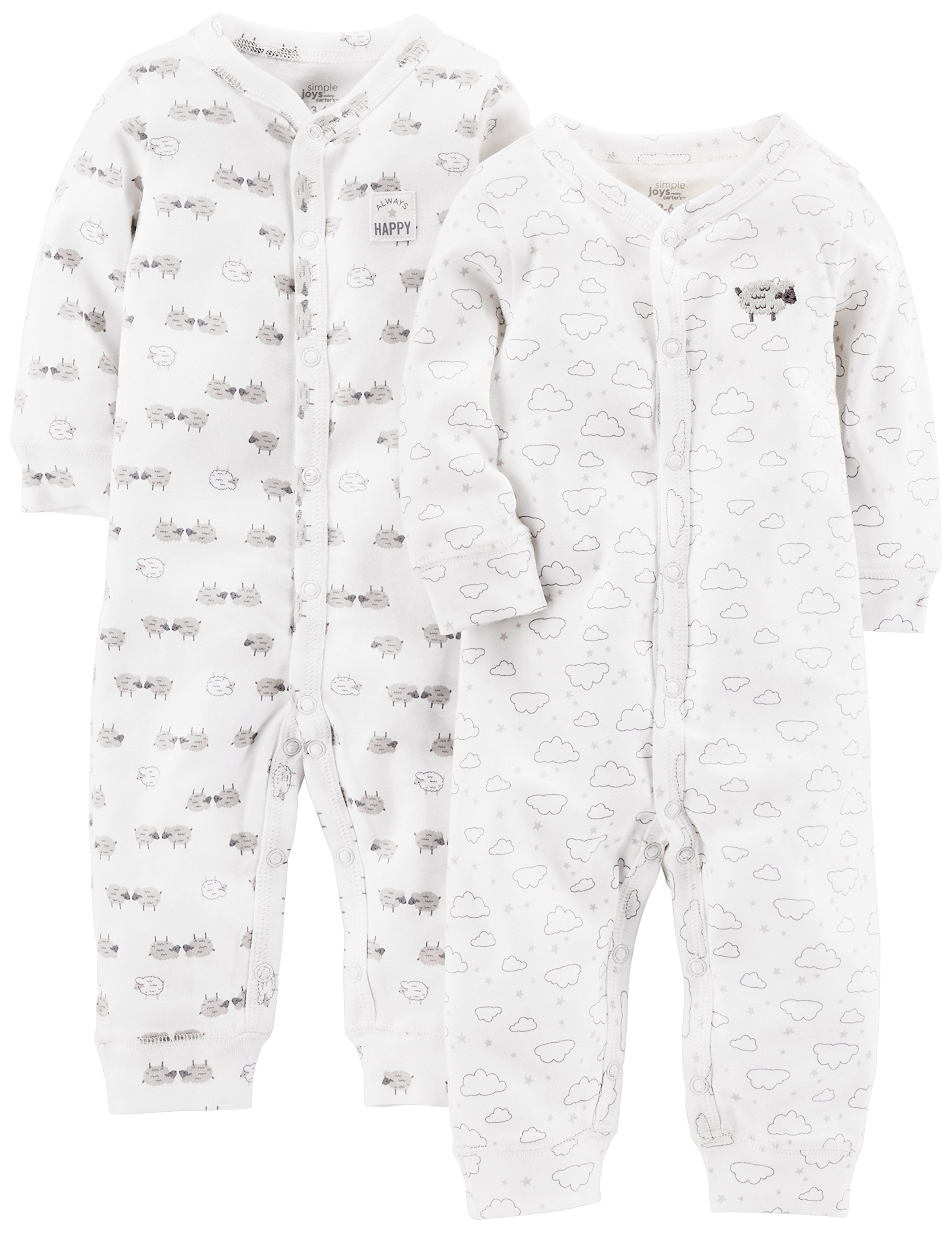 Simple Joys by Carter's Baby 2-Pack Cotton Footless Sleep and Play, White Lamb, Newborn
