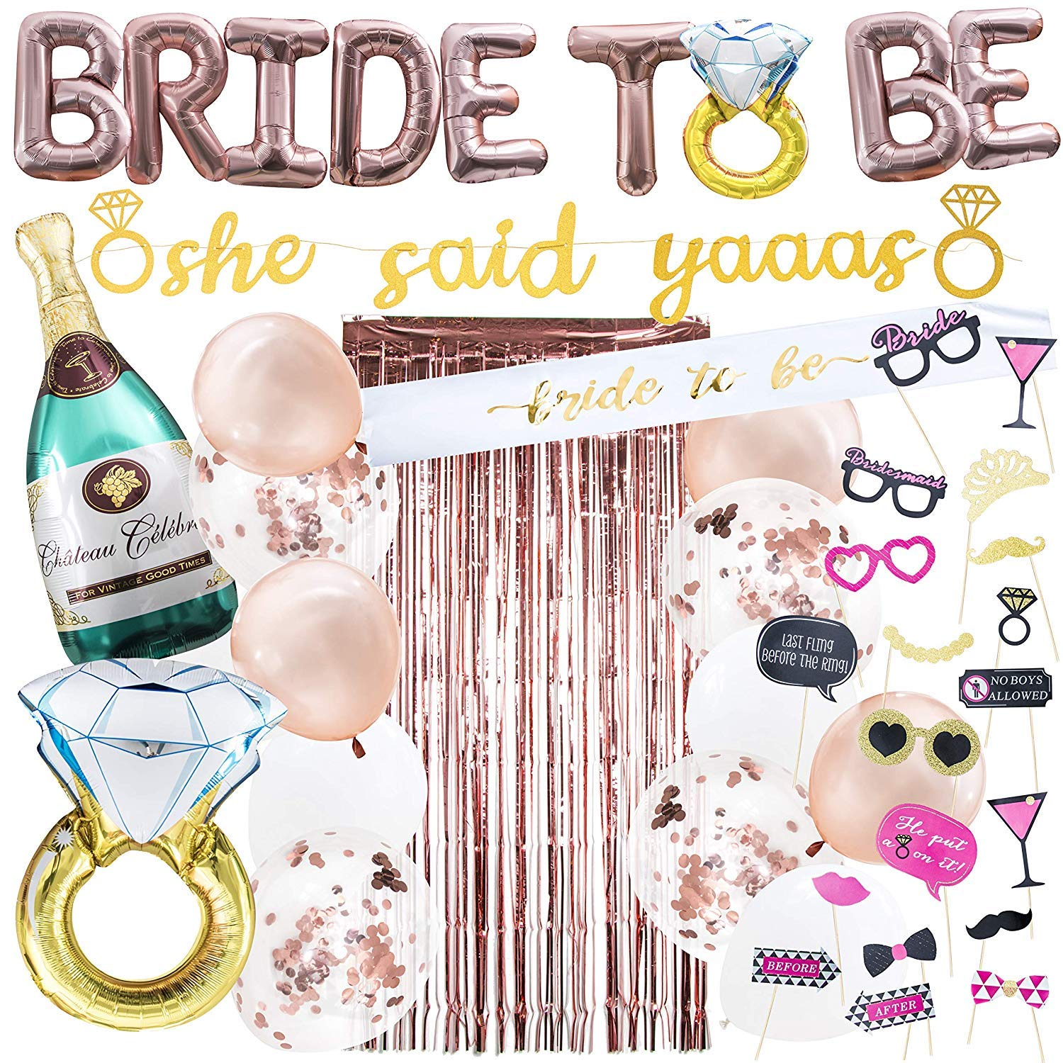 Rose Gold Bachelorette Party Decorations Kit I Bridal Party Decor I She Said Yaaas Banner, Bride to be Balloon, Engagement Ring Balloon, Rose Gold Foil Curtain + Girls Night Photo Booth Props by PineapplePartyShop