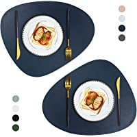 JTX Placemats Round Leather for Dinner Table Mats Heat-Resistant Non-Slip Washable Insulation Coffee Mats Kitchen Place…