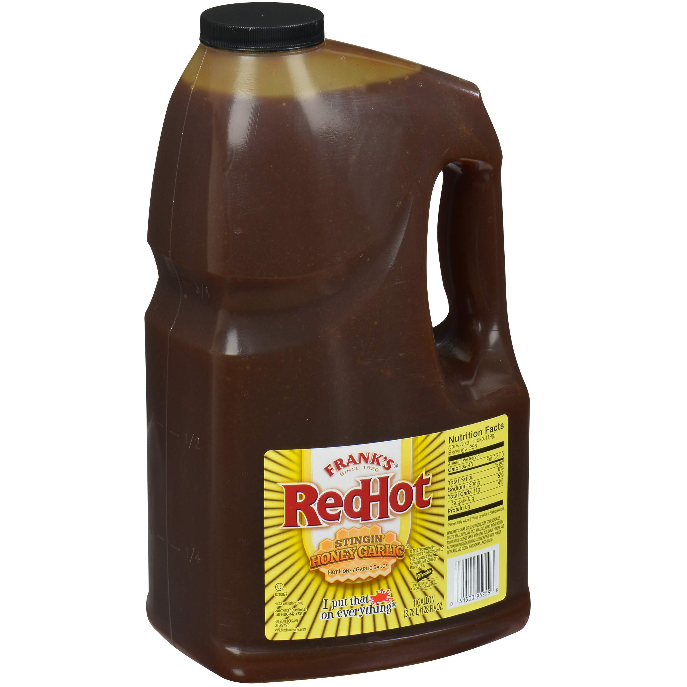 Frank's RedHot Stingin' Honey Garlic Sauce, 1 gal - One Gallon Bulk Container of Stingin' Honey Garlic Sauce for Entrees, Sides, Veggies, Wings, Bar Bites, and Dipping Sauces