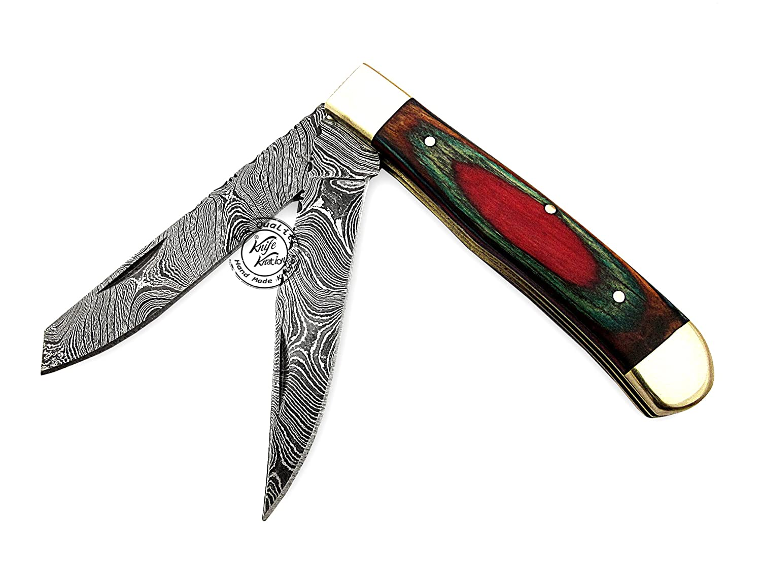 Beautiful Multi Color 8.5 Damascus Steel Double Blade Trapper Folding Pocket Knife 100 Prime Quality