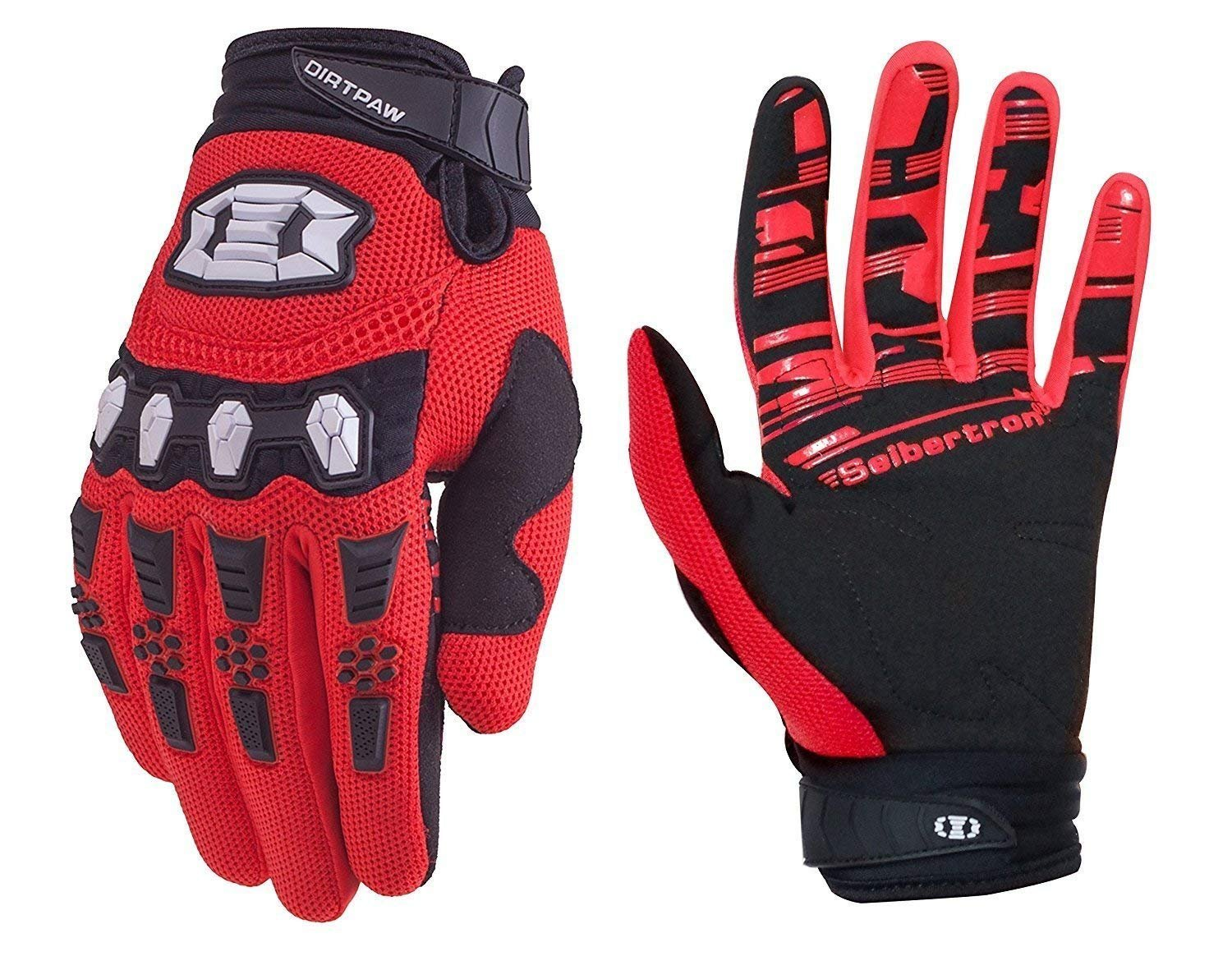 Seibertron Dirtpaw Unisex BMX MX ATV MTB Racing Mountain Bike Bicycle Cycling Off-road/Dirt bike Gloves Road Racing Motorcycle Motocross Sports Gloves Touch Recognition Full Finger Glove Red XS