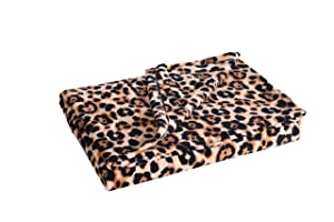 MarCielo Fleece Throw Blanket, 50 x 60 Inch Lap Fleece Blankets (Leopard)