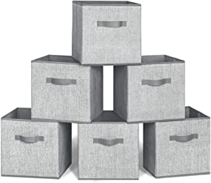 Storage Bins, 6 Pack Collapsible Fabric Storage Cubes Organizer with Dual Handles, Collapsible Closet Shelf Organizer for Nursery, Toys Organizer, Shelf Cabinet (6 Bins, Grey, 131313 inches)