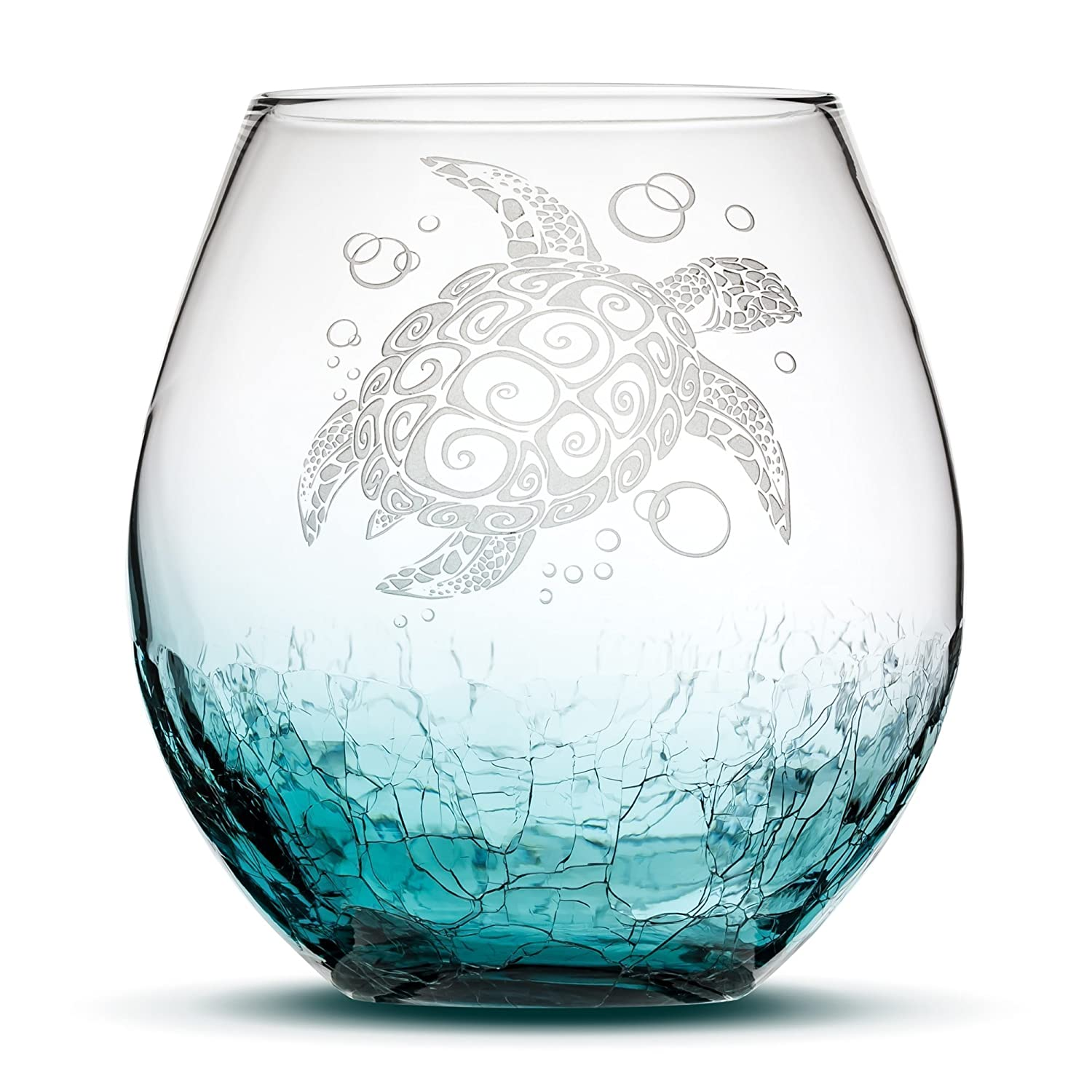 Sea Turtle Stemless Wine Glass, Crackle Teal, Handblown, Tribal Design, Hand Etched Gifts, Sand Carved by Integrity Bottles