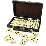 Kicko Domino Set - Premium Classic 28 Pieces Double Six in Durable Wooden Brown Box for Boys, Girls, Party Favors and…
