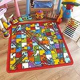 Superb Kids/Childs Rug Snake & Ladders Play Mat 1m x 1m (3'3 x 3'3 approx)