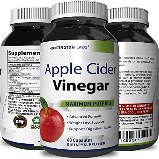 Pure Apple Cider Vinegar Weight Loss Powder Capsules Super Strength High Potency Extract Vitamin B6 Kelp Spirulina Supplement Support Digestion Circulation & Immunity with Skin Benefits