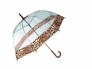 OUT OF THE BLUE Paraguas de cúpula, transparente con diseño de estampado de leopardo en el borde: Amazon.es: Deportes y aire libre