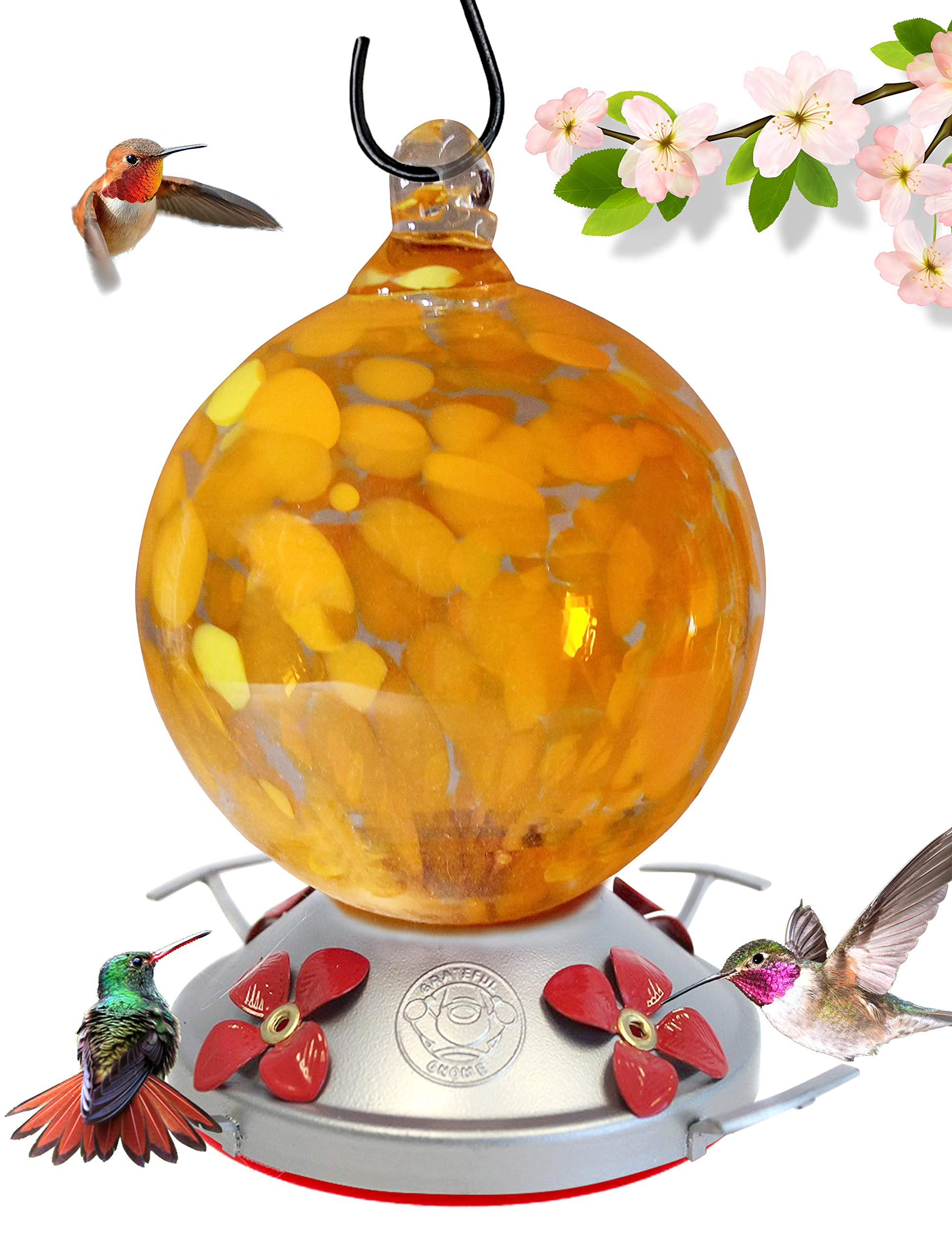 Grateful Gnome - Hummingbird Feeder - Hand Blown Glass - Orange Globe with Yellow Flowers - 24 Fluid Ounces