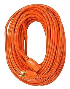 Coleman Cable 23098803 02309 16/3 Vinyl Outdoor Extension Cord, Orange, 100-Feet