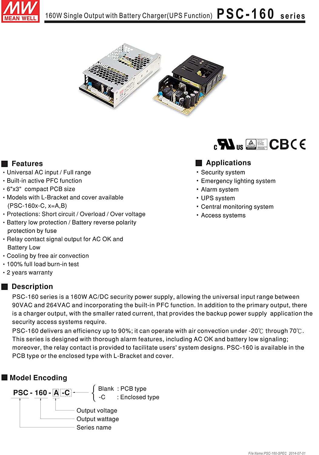 Mean Well Psc 160a 138v 76a 4a 160w Single Output With Battery Charger Circuit Using A Relay Electronic Ups Function Security Series Industrial Scientific