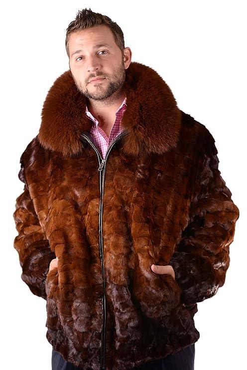 Hombres de piel de visón Bomber chaqueta con cuello de piel ...