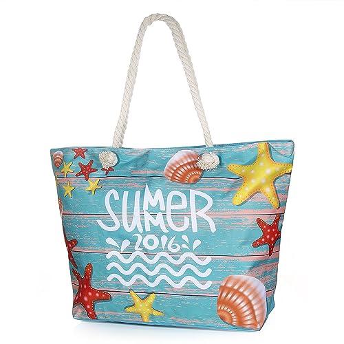 Vordas Bolsa de Playa de Lona Mujer Grande, Bolsa de Playa Grande con Cremallera para Mujeres y Niñas