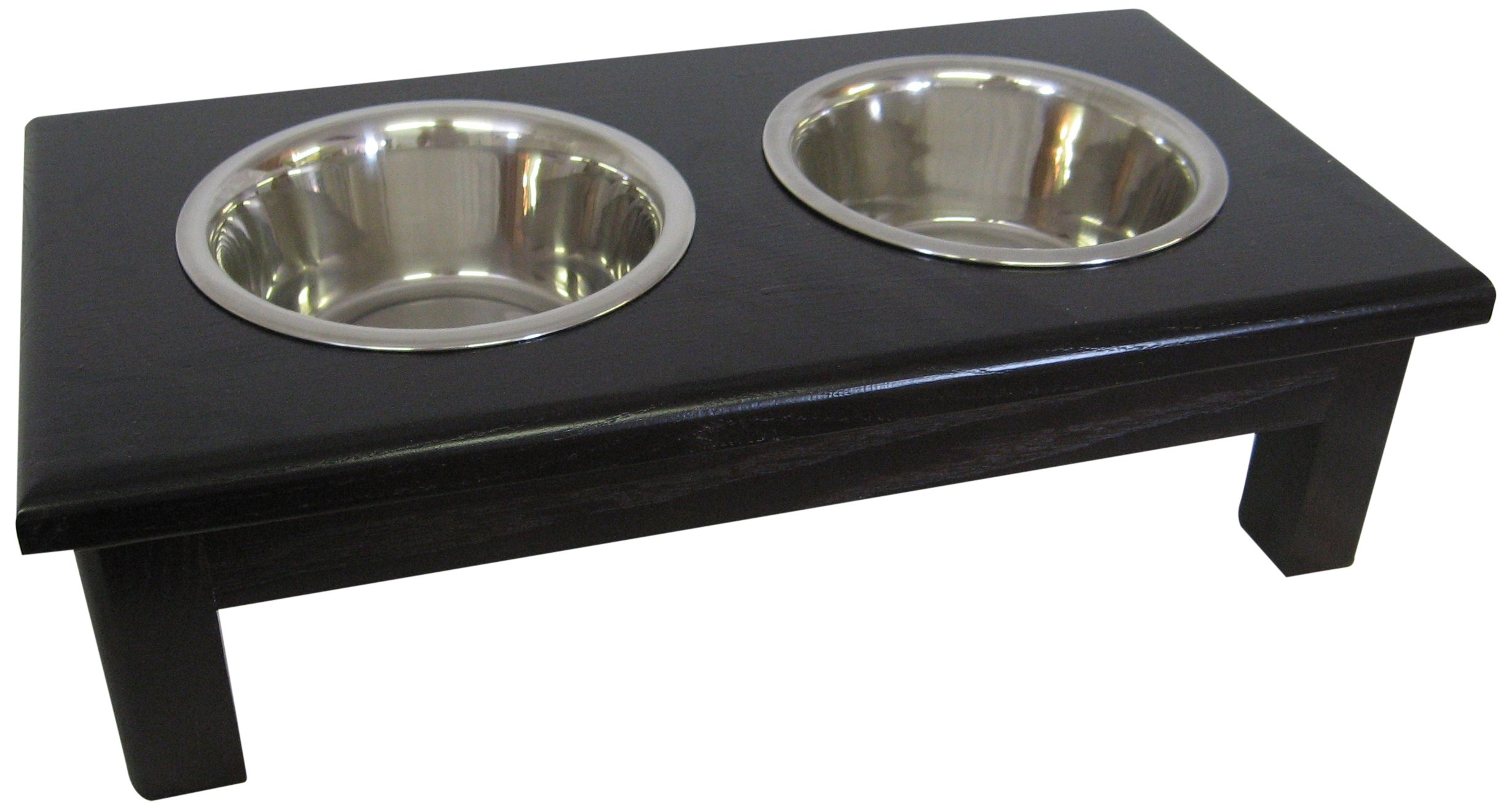Classic Pet Beds 2-Bowl Traditional Style Ash Pet Diner, Small, Espresso
