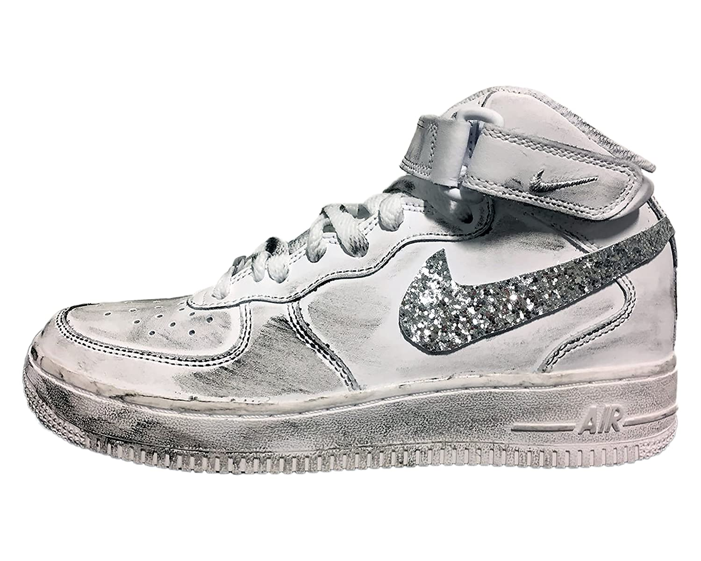 Ultime scarpe NIKE Air Force Mid con baffo Glitter Argento