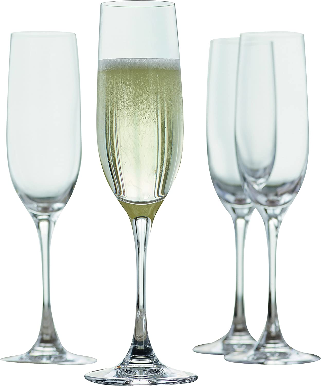 Spiegelau Vino Grande Champagne European-Made No-Lead Crystal, Classic Stemmed, Dishwasher Safe, Professional Quality Wine Glass Gift Set, 6.3 oz, Clear