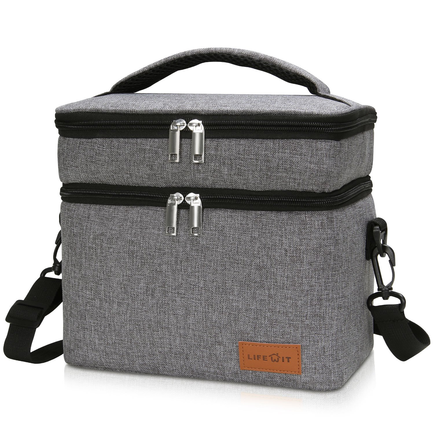Lifewit Double Decker Lunch Box for Men Women Kids, Insulated Thermal Bento Bag, Double Section Baby Milk Bottle Bag, 7L (5-Large Gray)