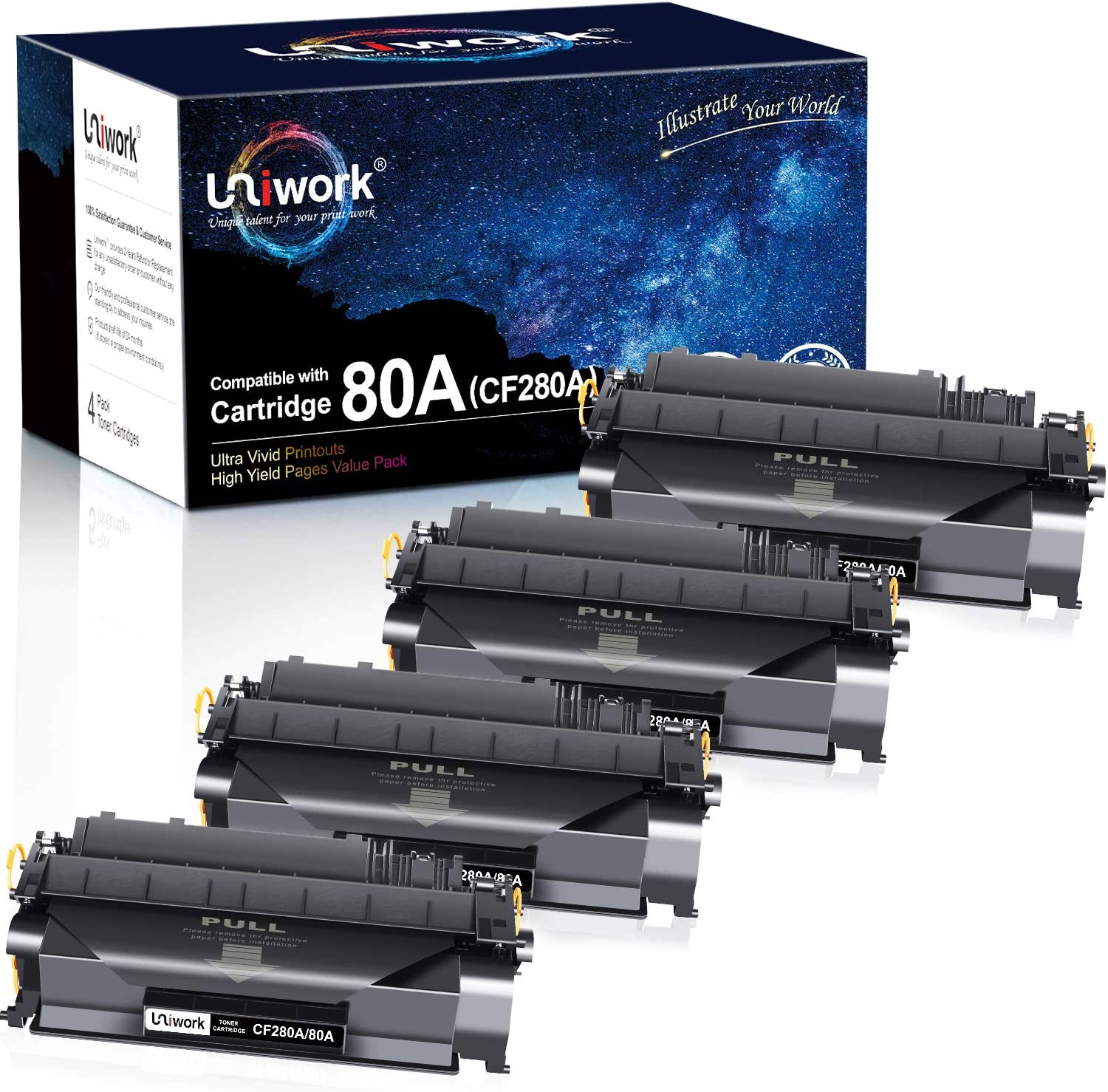 Uniwork Compatible Toner Cartridge Replacement for HP 80A CF280A 80X CF280X 05A CE505A for Laserjet Pro 400 M401A M401D M401N M401DN M401DNE M401DW, MFP M425DN Printer (4 Black)