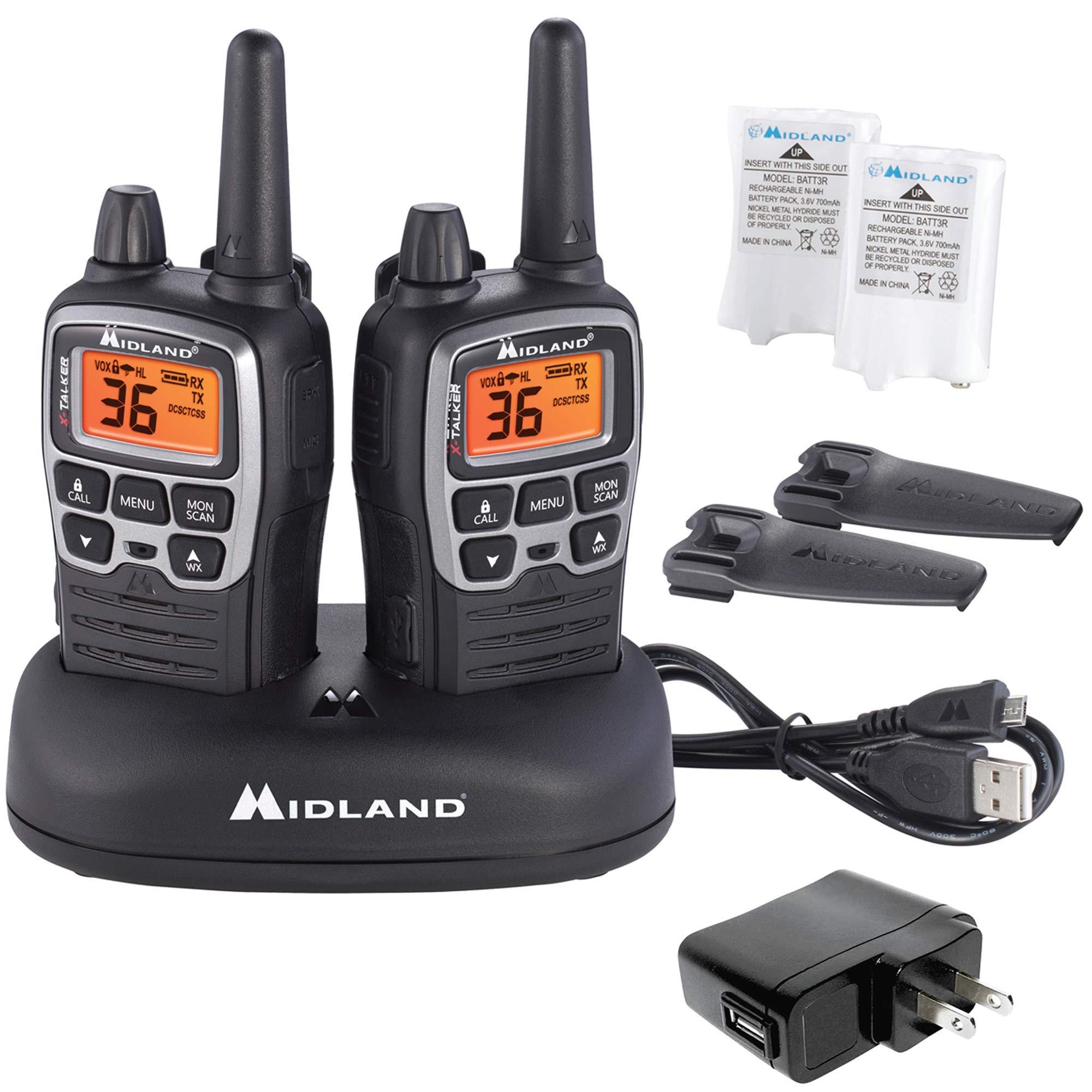 Midland - X-TALKER T71VP3, 36 Channel FRS Two-Way Radio - Up to 38 Mile Range Walkie Talkie, 121 Privacy Codes, NOAA Weather Scan + Alert (Pair Pack) (Black/Silver) by Midland