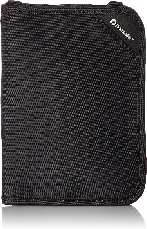 Pacsafe Rfidsafe V150 Anti-Theft RFID Blocking Compact Passport Wallet, Black, One Size