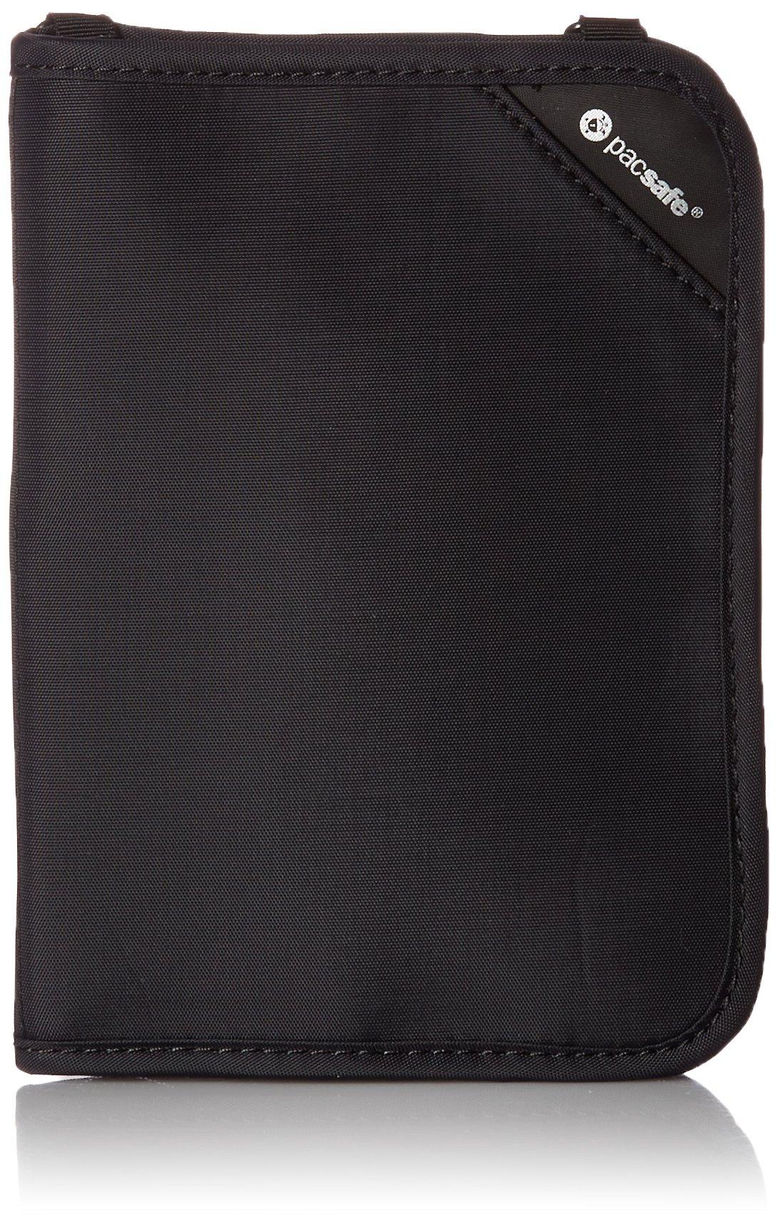 Pacsafe RFIDsafe V150 Anti-Theft RFID Blocking Compact Passport Wallet, Black