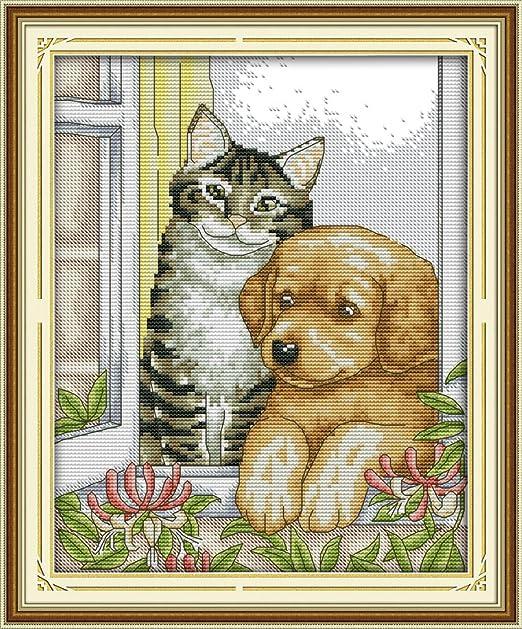Chreey - Kit de Punto de Cruz | Gato y Perro | 28 x 33cm ...