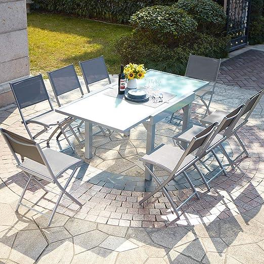 Salón de jardín con mesa extensible de aluminio y 8 sillas, Filomena: Amazon.es: Jardín