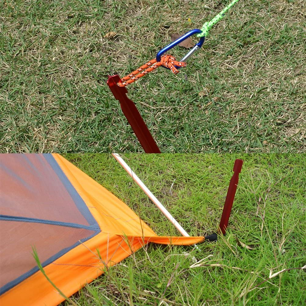 Sourceton Outdoor Tent Insert Pegs 10-teilige Tent Pegs und 4er Pack 4mm Reflective Guy Lines mit Cord Adjustment /& Bag