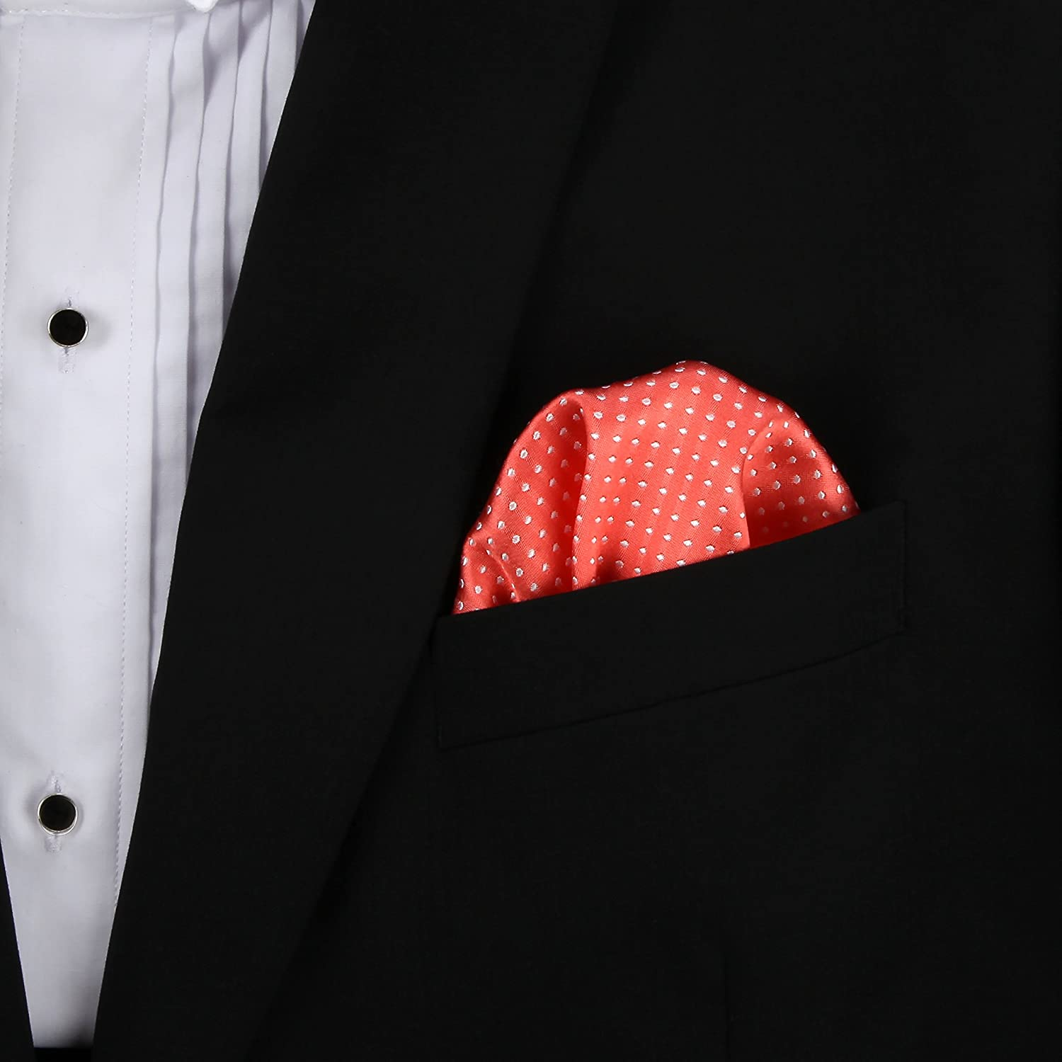 Coral Pink Pin Dot 100/% Silk Pocket Square Wedding Collection in Signature Wrapping Gift Box