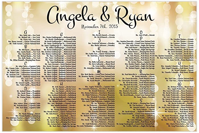 amazon com personalized gold spakles lights wedding seating chart