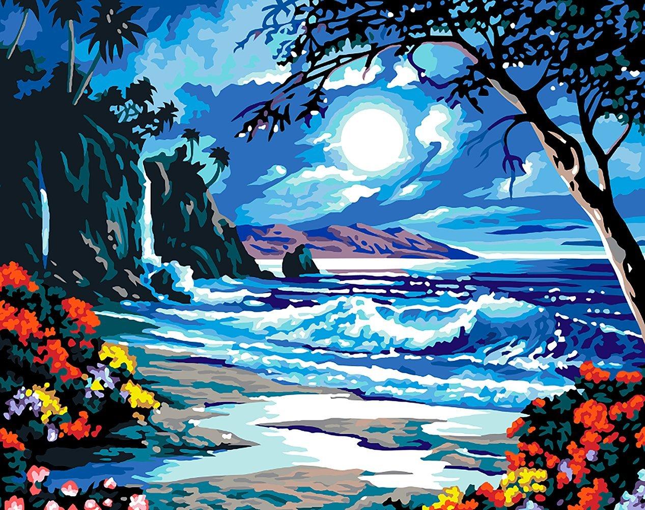 Fuumuui Fai-da-Te Fai-da-Te Pittura a Olio su Tela Regalo per Adulti Bambini dipingere da Numero Kit Decorazioni per la casa-Seaside Moonlight 16 20 Pollici