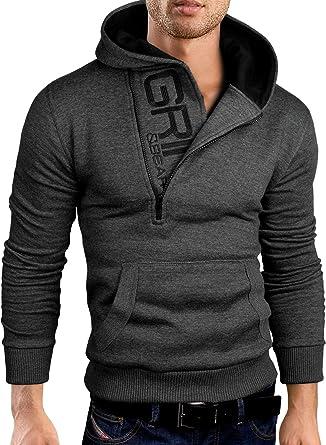 c7dbfb20 Grin&Bear Slim Fit Half Zip Hoodie Jacket Embroidered Sweatshirt, GEC401 at  Amazon Men's Clothing store: