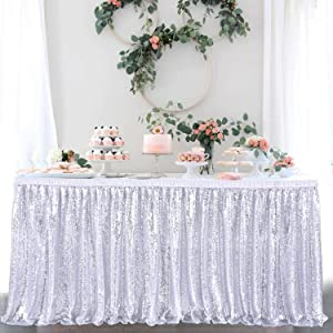 Suppromo 9ft Sequin Table Skirt for Party Cake Table Baby Shower Wedding Silver Sequin Tablecloth for Rectangle