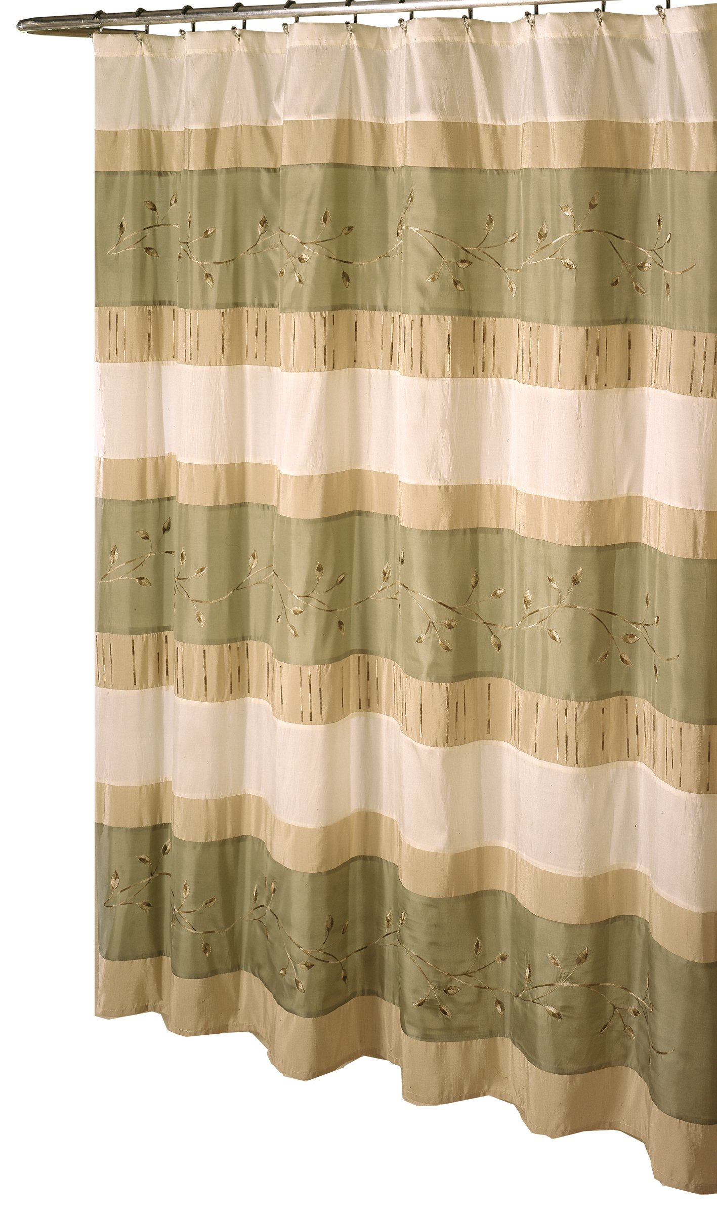 Ex-cell Home Fashions Wasabi Fabric Shower Curtain, Sage - Measures 70-inch wide by 72-inch long 100% polyester Metal grommets - shower-curtains, bathroom-linens, bathroom - 81qG9jhOOBL -