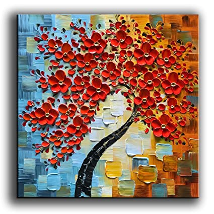 Yasheng Art Modern Abstract Painting 3d Red Flowers Oil Painting On Canvas Tree Paintings Home Interior Decor Wall Art For Living Room Bedroom Ready