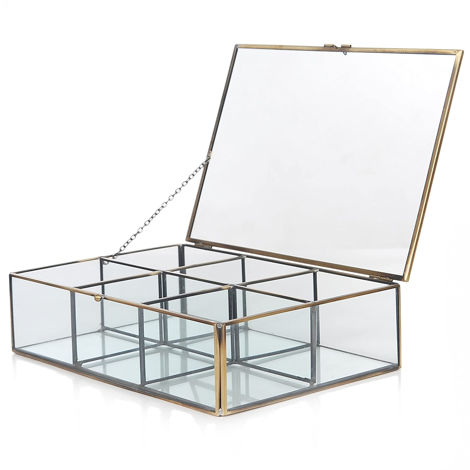 Amazoncom Decorative Clear Glass Brass Metal Frame 6 Compartment