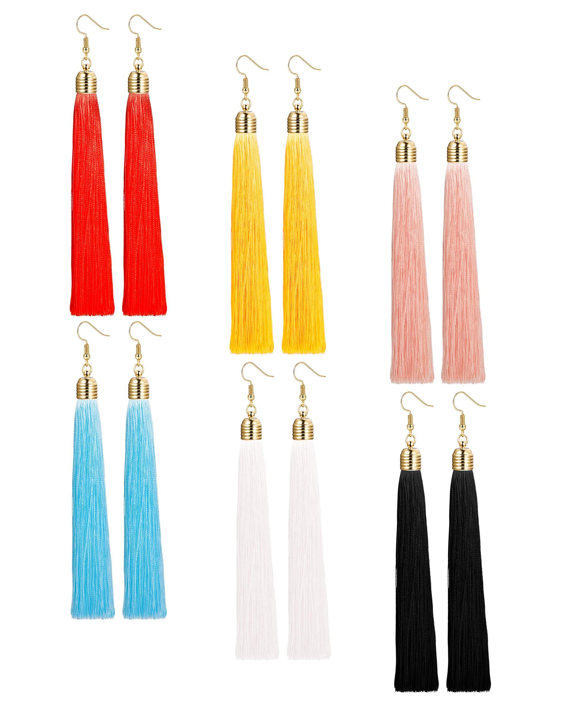 LOYALLOOK 1-3 Pairs Tassel Earrings Set Long Dangle Earrings for Women Black/Blue/Red Tassel (6 Pairs)