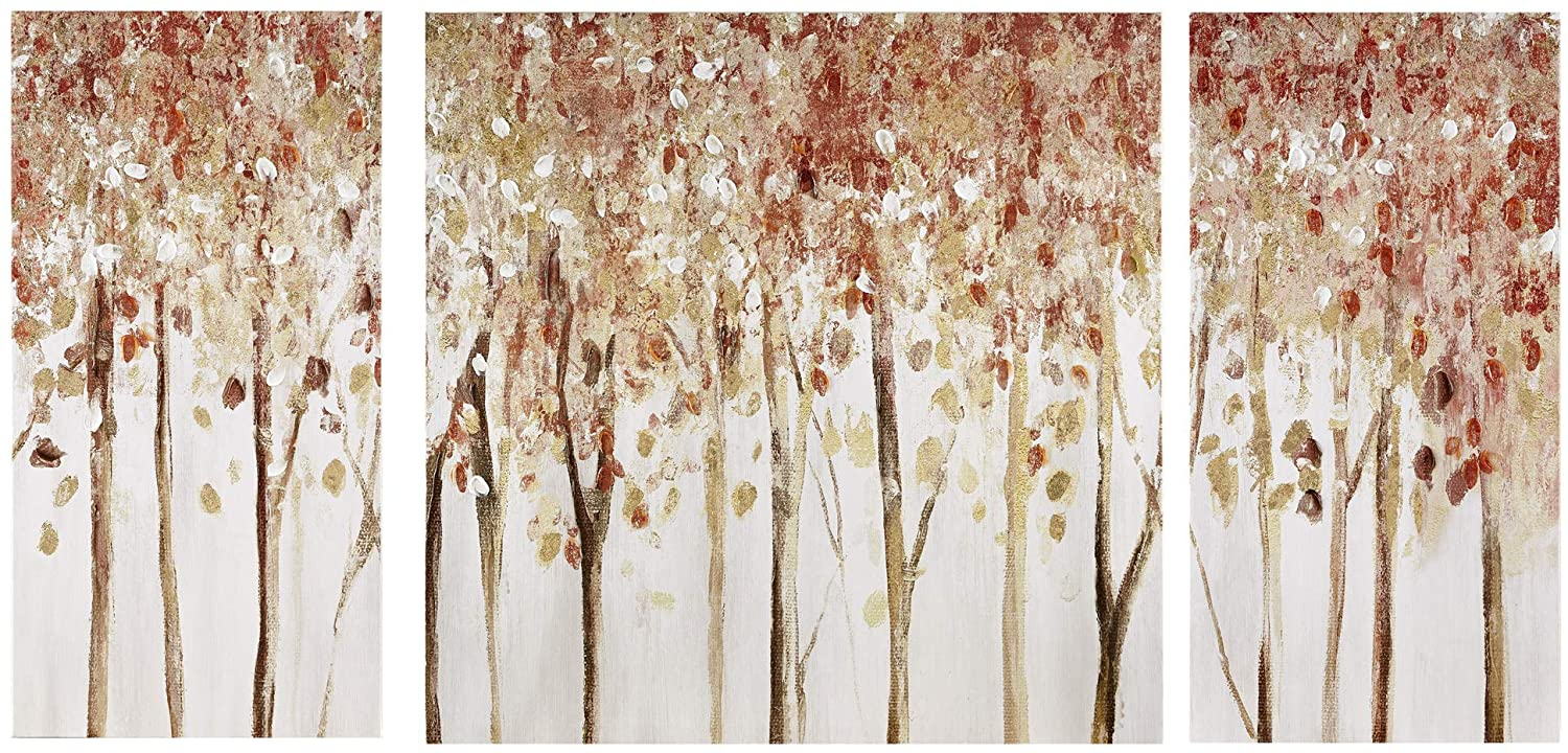 Madison Park Wall Art Living Room Décor - Scenery Triptych Canvas Home Accent Modern Dining Bathroom Decoration, Ready to Hang Painting for Bedroom, Multi-Sizes, Autumn Forest, 3 Piece