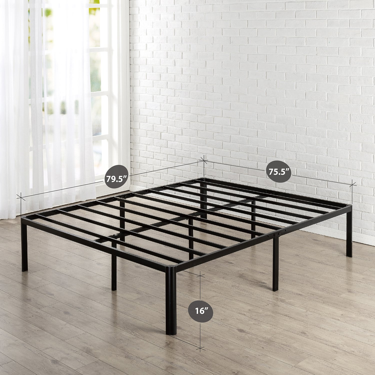 Zinus Van 16 Inch Metal Platform Bed Frame with Steel Slat Support / Mattress Foundation, King by Zinus (Image #2)