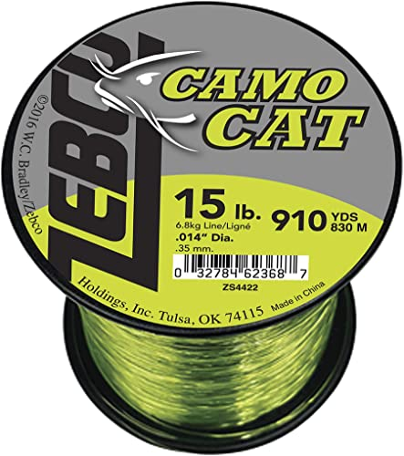 Zebco BCAT15Q Zebco Big Cat Line, 910 yd.014 Diameter, 15 Lbs Tested, Hi-VIS Yellow Low-Vis Moss Green